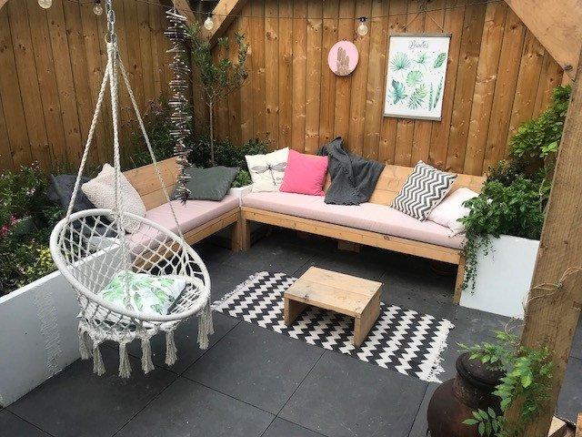 roze sunbrella kussens